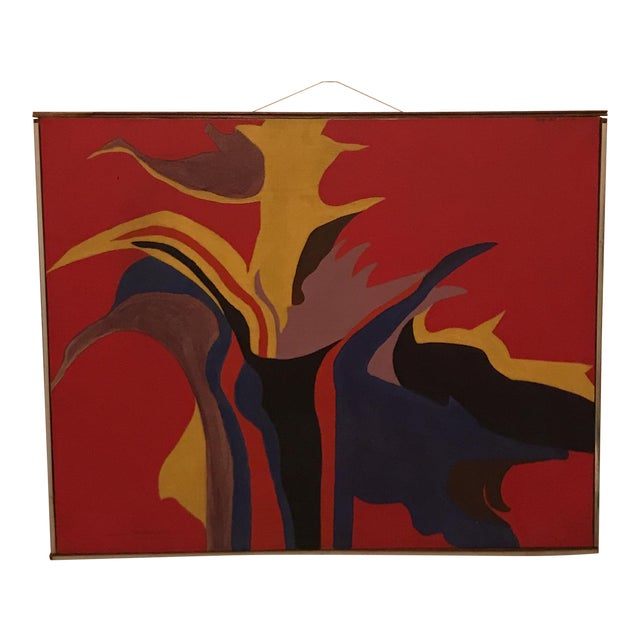 Mid-Century Modern Red Abstract Painting - Image 1 of 5