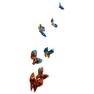 Flight of Blue Butterflies Contemporary Blown Glass Wall Art Sculpture For Sale