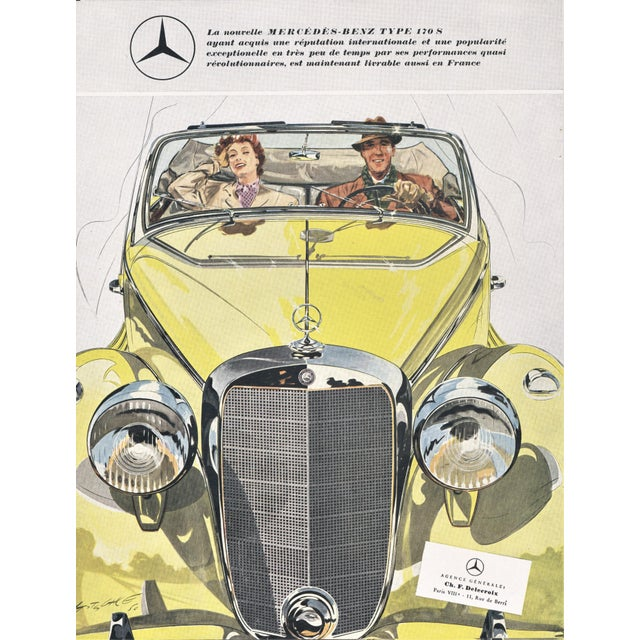 1950s Matted 1950 Mercedes-Benz 170s Car Advertisement Print For Sale - Image 5 of 5