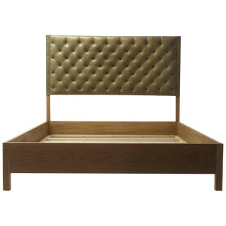 Tan Leather Tufted Bed With Oakwood Rails With Button Details For Sale