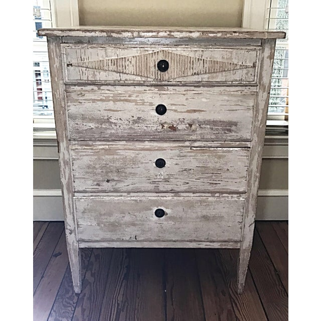 White 1880s French Painted White Chest Commode Chest For Sale - Image 8 of 9