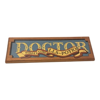Vintage Doctor Potion Seller Wood Sign For Sale