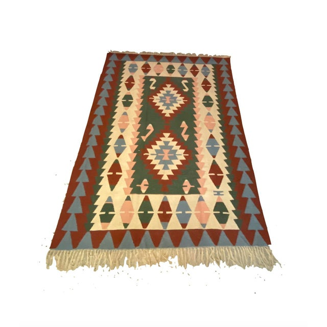 Vintage Handwoven Wool Flat Weave Fringed Turkish Rug For Sale In Detroit - Image 6 of 6