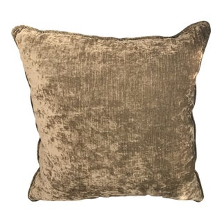 "20"" Italian Velvet Thick Olive Green Pillow With Down Filling"