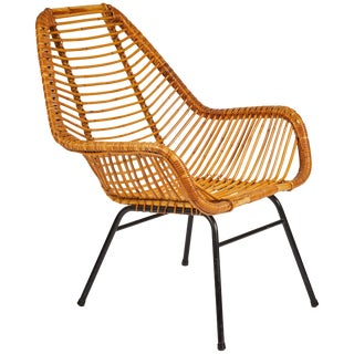 Mid-Century Rattan Armchair With Metal Base From France For Sale