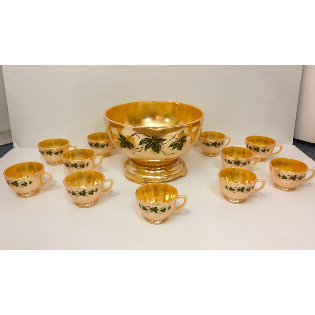 1960s Anchor Glass Peach Luster Nostalgia Punch Serving - Set of 12 For Sale - Image 11 of 11