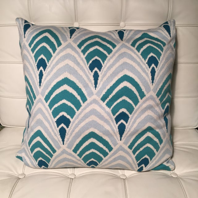 Knit Pillow With Aqua Art Deco Geometric Pattern - Image 2 of 3