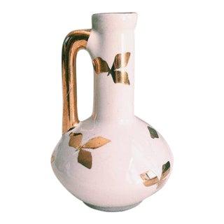 Vintage Hollywood Regency White Ceramic W/ Gold Gilded Leaves Bud Vase For Sale