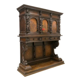 19th Century Renaissance Revival Figural Marquetry Cabinet For Sale