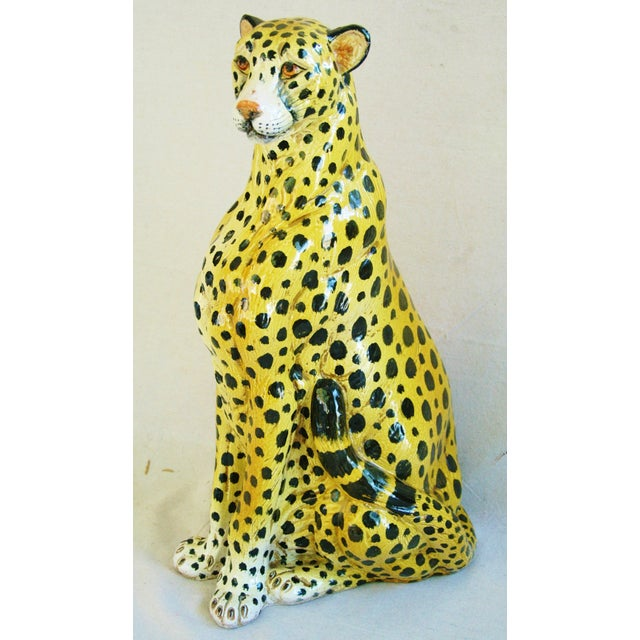 Large Hand-Painted Italain Terracotta Cheetah - Image 2 of 11