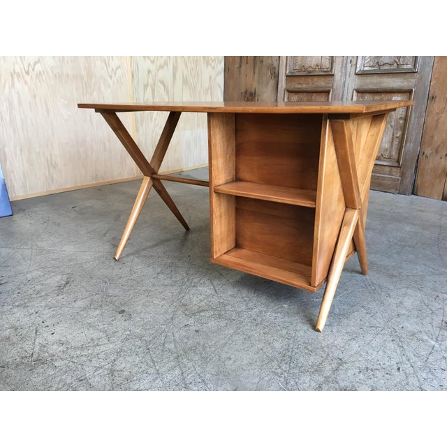 1950's Maple X-Leg Desk With Bookcase For Sale - Image 11 of 13