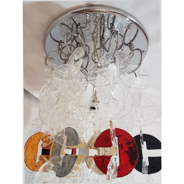 Mid Century Modern Mazzega Chrome & Murano Glass Chandelier For Sale In Boston - Image 6 of 12