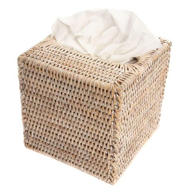 Boho Chic Artifacts Rattan Column Tissue Box For Sale - Image 3 of 4