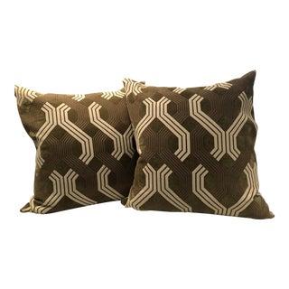 Custom Geometric DesignGreen Pillows - a Pair For Sale