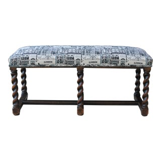 "Antique English Bench Stool Window Seat Oak Barley Twist London Upholstery 43"" W For Sale"
