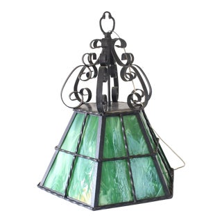 Green Antique Stained Glass and Wrought Iron Hanging Light For Sale