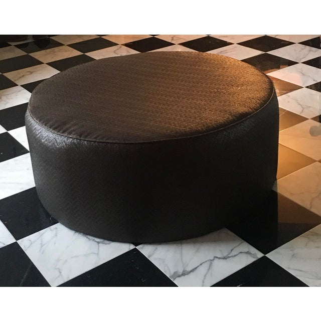 Modern Vintage Leather Ottoman in the Style of Ralph Lauren For Sale - Image 3 of 7