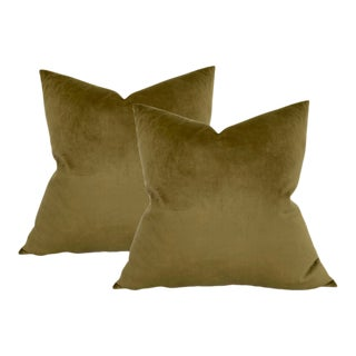 Olive Velvet Pillow Covers- a Pair For Sale