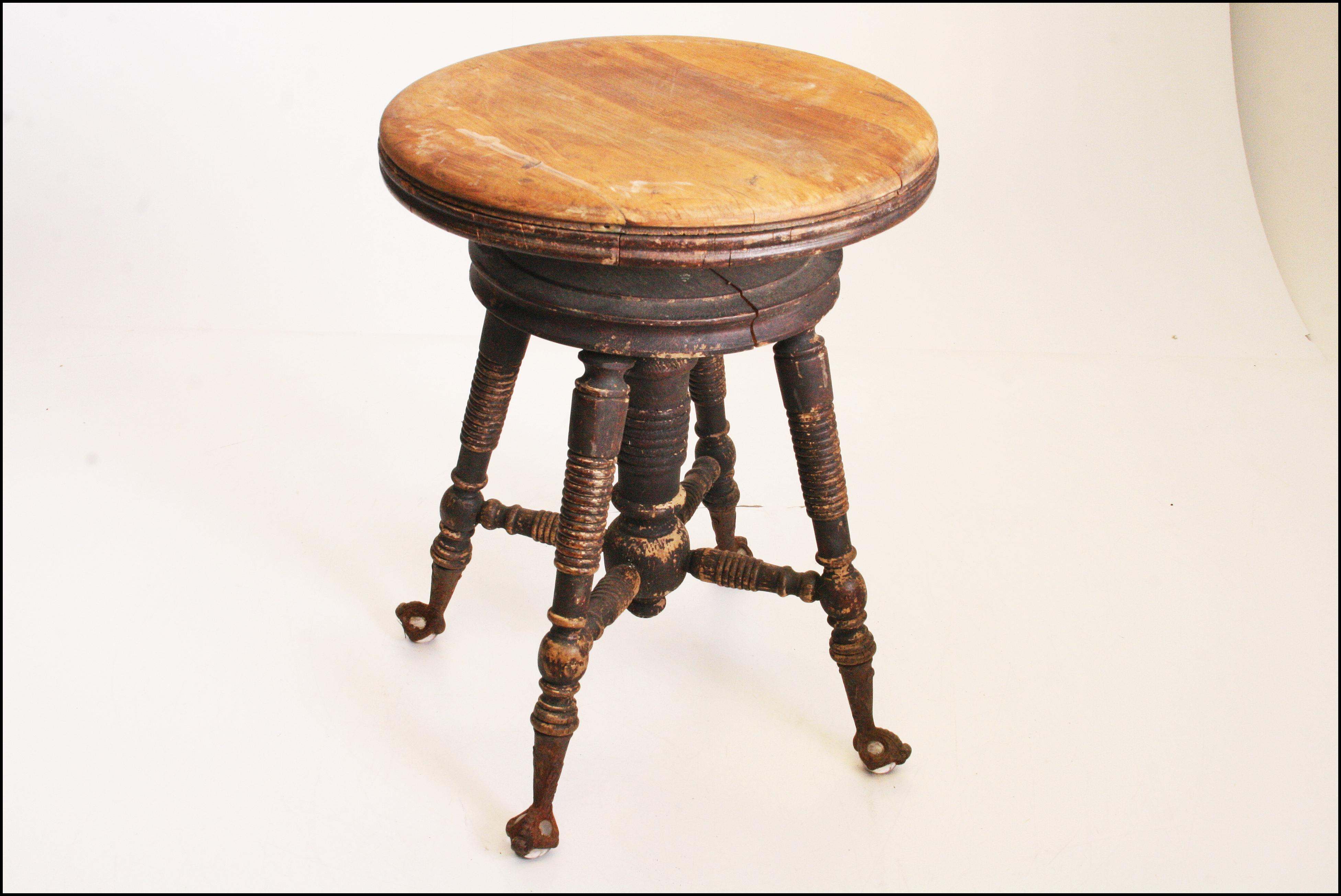 Victorian Wood Swivel Piano Stool With Ball Amp Claw Feet