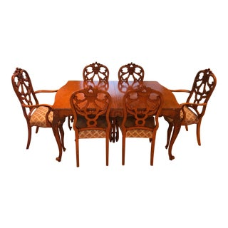 1920's Vintage Romweber French Dining Table & 6 Chairs For Sale