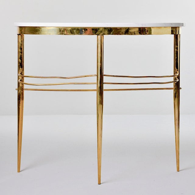 Mid-Century Italian White Marble Top Console With Brass Base For Sale - Image 11 of 11