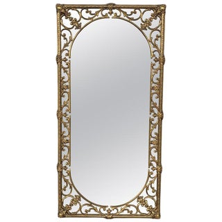 20th Italian Rectangular Brass Foliate Wall Mirror or Console Mirror For Sale