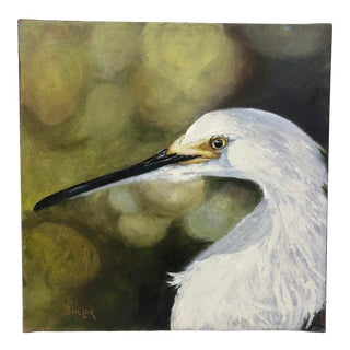 White Egret Painting of Bird For Sale