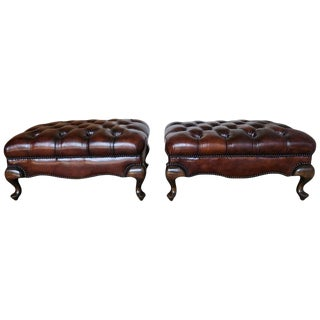 Pair of English Queen Anne Style Leather Tufted Benches For Sale