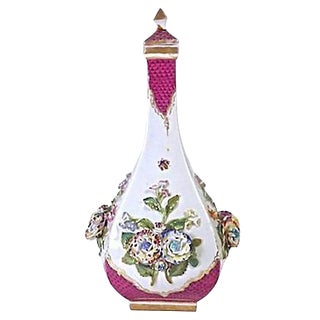 Antique Porcelain Meissen Floral Decanter For Sale
