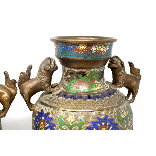 Bronze Vintage Bronze Champleve Urns With Foo Dog Handles - a Pair For Sale - Image 7 of 11