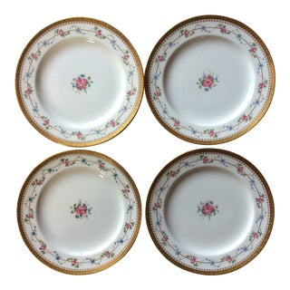 Antique Floral Gold Rim Minton Plates - Set of 4 For Sale