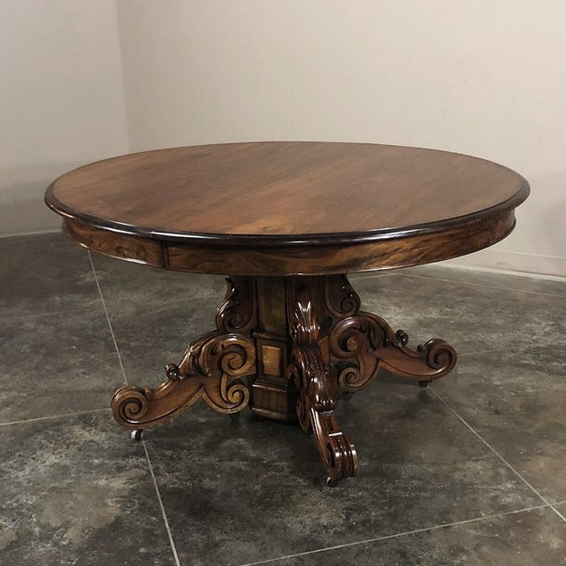 19th Century French Renaissance Walnut Pedestal Table For Sale In Dallas - Image 6 of 13