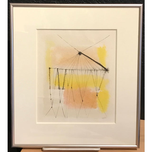 1960s Anita Simpson Watercolor and Ink Abstract - Image 2 of 9