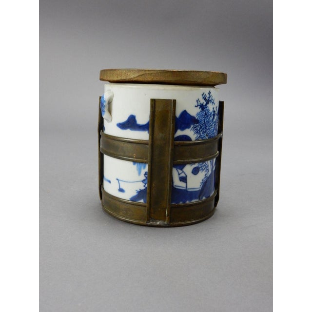 Antique Chinese Blue & White Tea/Tobacco Jar For Sale - Image 10 of 11