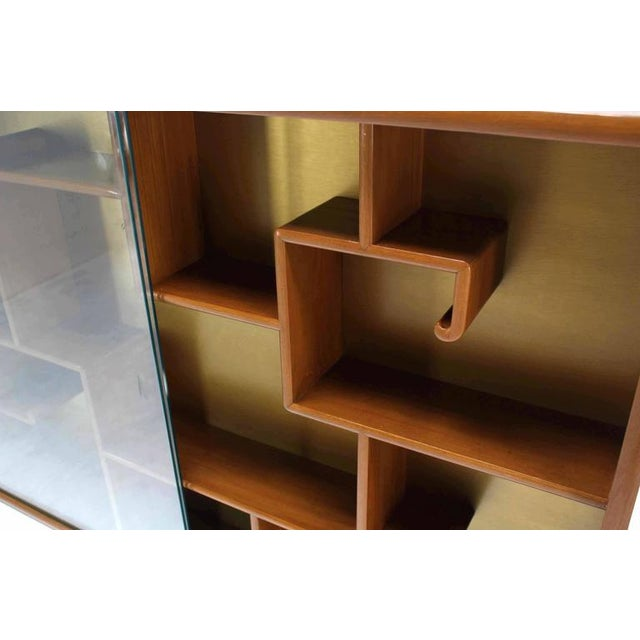 Early 20th Century Oriental Asian inspired Hanging Bookcase Shelf w/ Glass Doors Solid Teak For Sale - Image 5 of 6