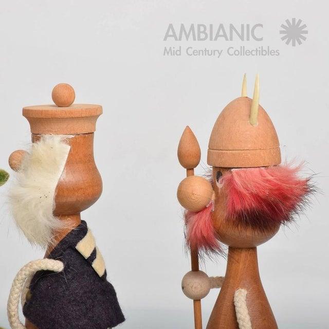 Brown Mid-Century Danish Modern Wood Toys, Set of Three Vikings For Sale - Image 8 of 8