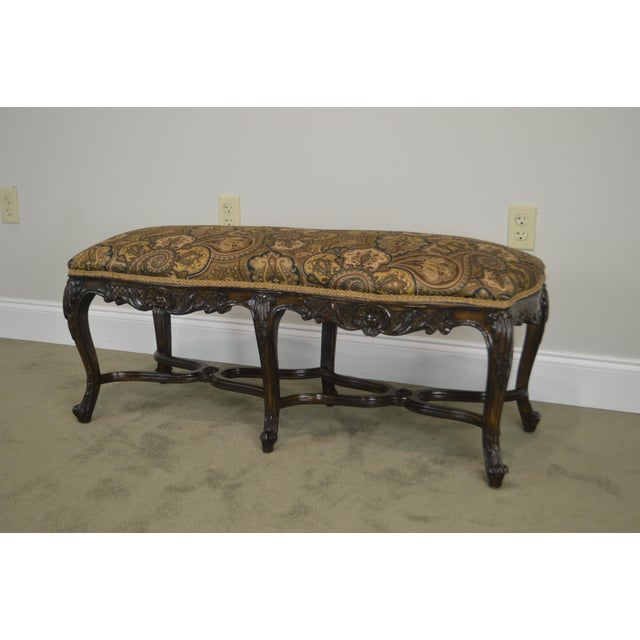 French Louis XV Style Carved Walnut Window Bench For Sale - Image 4 of 12