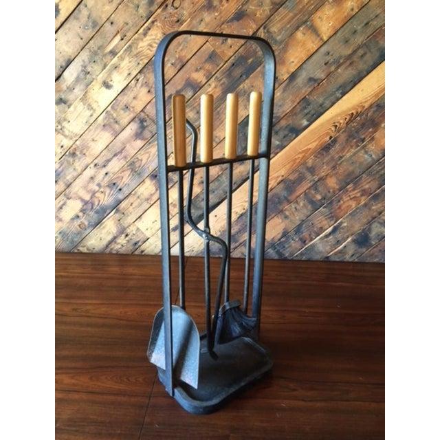 Vintage Modernist Iron Birch Fireplace Tool Set - Image 4 of 6