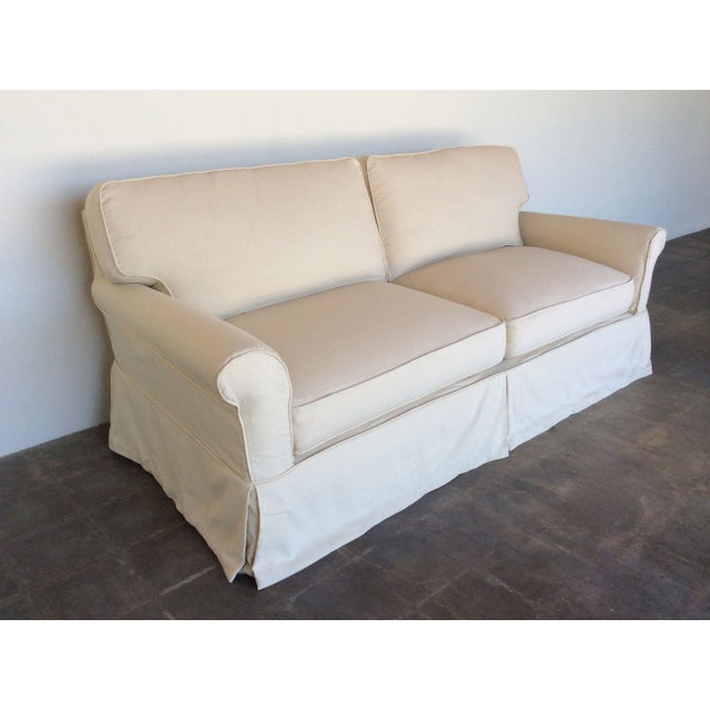Slipcovered Roll Arm Sofa in Belgian Linen - Image 6 of 8
