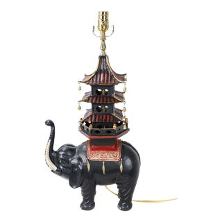 Vintage Hand Painted Black Elephant Carrying Pagoda Lamp For Sale