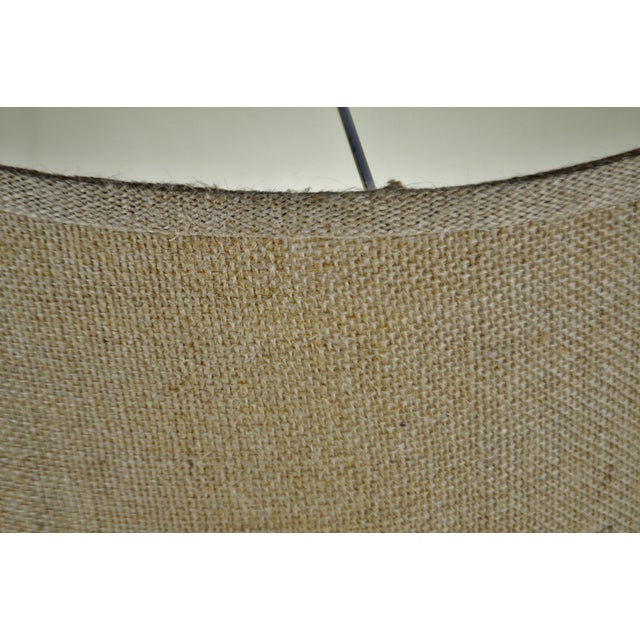 Brown Vintage Grass Cloth Drum lampshade For Sale - Image 8 of 13