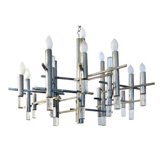 1970s Italian Modernist Chrome & Lucite Chandelier by Gaetano Sciolari For Sale