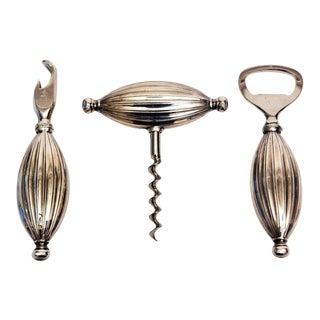 Mid-century Modern Sterling Silver Signed Sculptural Barware Set - Set of 3 For Sale