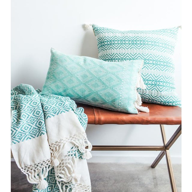 Mexican Mint Diamond Brocaded Pillow - Image 3 of 4