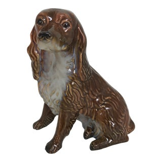1970s Vintage Glazed Pottery Cocker Spaniel Dog Figurine For Sale