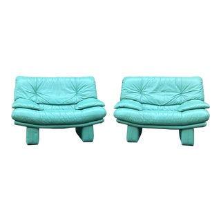 Nicoletti Salotti Style Sea Foam Green Leather Lounge Chairs - a Pair For Sale