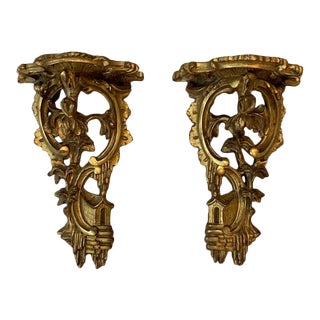 Gilded Chinoiserie Pagoda Carved Wall Brackets - a Pair For Sale