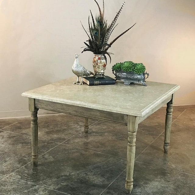 19th Century French Rustic Limestone Top Game Table - Center Table For Sale - Image 10 of 12