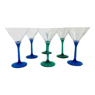Vintage Blue & Green Stem Martini Glasses - Set of 6 For Sale