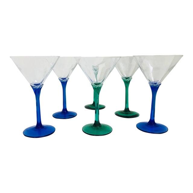 Vintage Blue & Green Stem Martini Glasses - Set of 6 For Sale